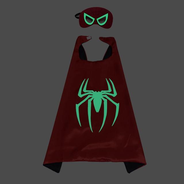 Polyester Red Spider man Mask Cape Batman Wonder Woman Robin Super Hero Cloak Kids Birthday Party Supplies Children's Day Gift