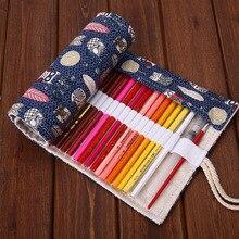 Canvas Roll Pouch Makeup Comestic Brush Pen Storage 36/48/72 Hole Pencil case school supplies stationery cartoon pen curtain