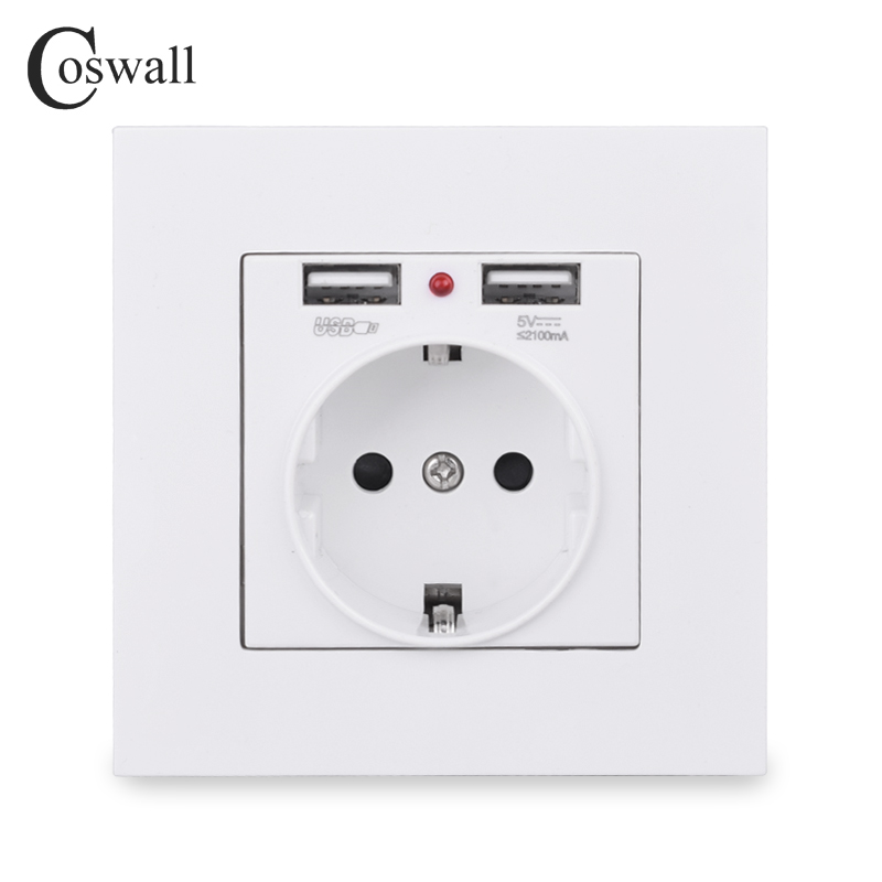 Indicator Panel Outlet Power-Socket Charging-Port Wall Gold Dual-Usb Black White Grey