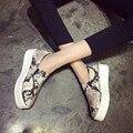НОВЫЙ 2016 Марка Женщины Змеиной Мокасины Квартиры Обувь Женщина Случайные Скольжения на Туфли На Платформе Дамы Лианы Размер 34-40