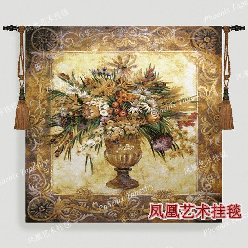 Belgique tapestriesTuscany en pot fleur grand 138*138 cm jacquard tapisserie image de tissu tapisserie tentures murales H135