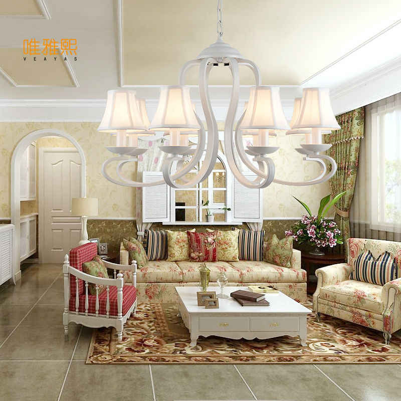 Veayas White Fabric Shade Iron Chandelier Lighting Fixtures luminaria lustre Ceiling Chandeliers E14 Light for Bedroom living ro