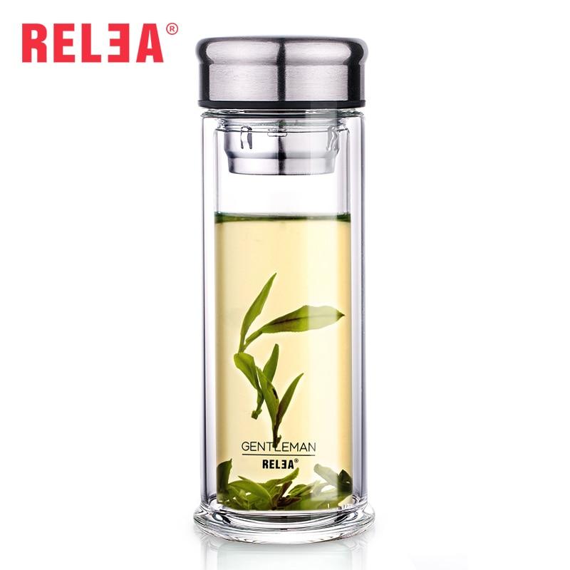 Relea 280ml My Water Tea Infuser Glass Tumbler Double Wall Borosilicate Glass Bottles Stainless Steel Filter Bottle