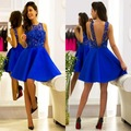 Vestido Cocktail 2016 Short Cocktail Dresses Royal Blue O neck Beaded Sequins Backless Satin Party Dress vestido de festa curto