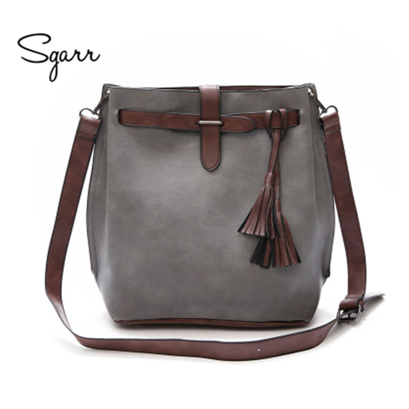 SGARR Tassel women bags Bucket Shoulder Bags Solid pu leather shoulder bags string female brown handbag wine large small size sgarr red black grey brown women big tote handbag fashion large female purse ladies party hasp soft leather wine shoulder bags