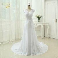 2016 New Arrival Wedding Dress Elegant Applique Dress Chiffon Beading Vestidos De Novia Plus Size Beach