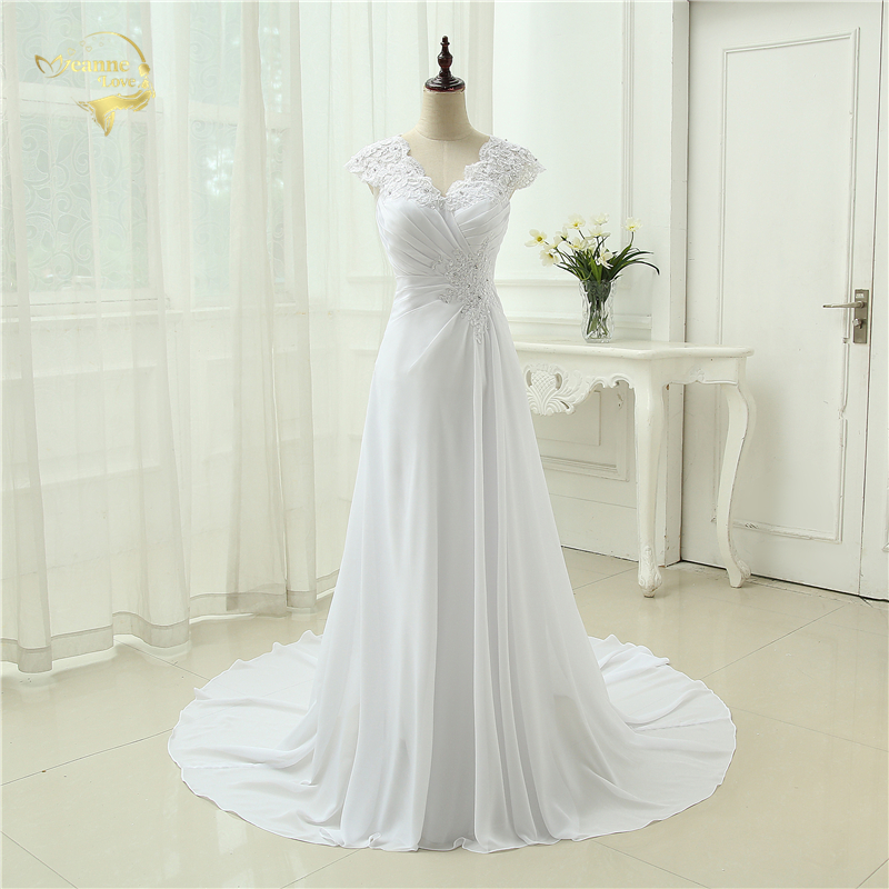 2019 New arrival Vestido De Noiva Elegante Applique Vestido De Chiffon Beading Vestidos De Novia Plus Size Praia Vestidos De Noiva 399390UJL