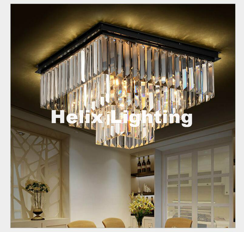 Free Shipping D45cm D60cm Nordic Modern Top K9 Smokey Clear Crystal Ceiling Light Hotel Hall Living Room Dining Room AC Lighting