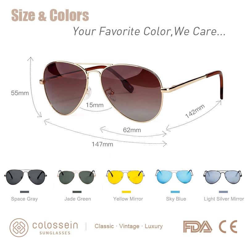 COLOSSEIN Solglasögon Kvinnor Polariserad Märke Classic Metall - Kläder tillbehör - Foto 2