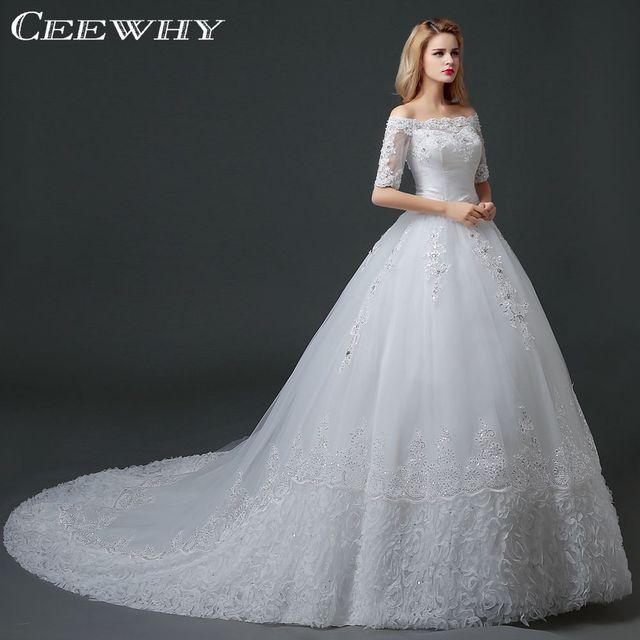 CEEWHY Court Train Vestido de Novia Appliques Wedding Dresses Half Sleeve  Embroidery Mariage Ball Gown Bridal Dress Lace Up Back 5746797193cc