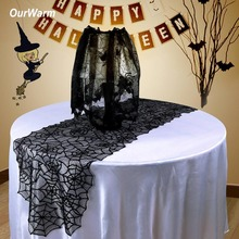 OurWarm Halloween Table Decoration Black Lace Spider Web Table Runner Seamless One Piece Design Halloween Theme Wedding ourwarm 1pc halloween table cloth party table decoration spider web lace design rectangle tablecloth with ghost party decoration