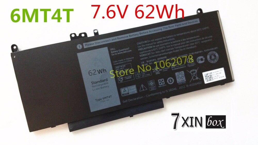 7.6V 62Wh 6MT4T Battery For Dell Latitude E5450 E5470 E5550 E5570 Notebook 15.6 7V69Y TXF9M 79VRK G5M10 51wh original new laptop battery g5m10 for dell latitude e5450 e5550 notebook 15 6 g5m10 8v5gx free shipping