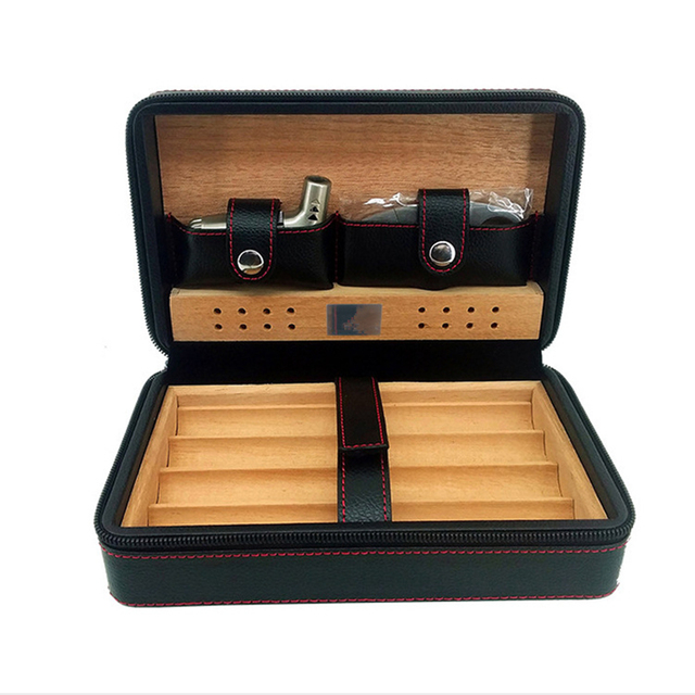 Cedar Wood Leather Cigar Box Humidor