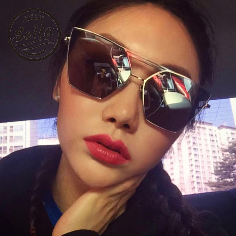 Sella New Arrival Korean Style Oversized Square Mirror Coating Sunglasses Fashion Women Men Alloy Frame Film Sun Glasses UV400
