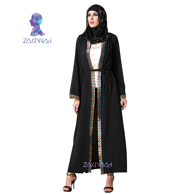 Dubai Turkish Ladies Clothing muslim women dress black Cardigan Robe Women  Arab Ladies Caftan Kaftan Malaysia Abayas a13d976c6bd
