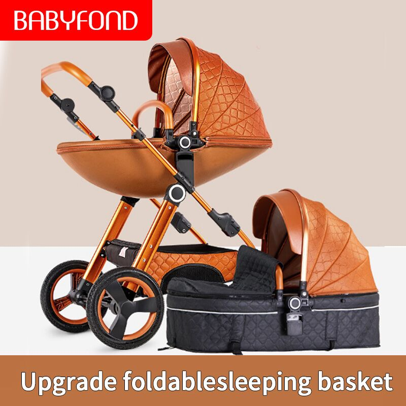 Babyfond High Landscape Baby Stroller 2 In 1baby Pram Can Sit Reclining Lightweight Folding  Baby Carriage Send Free 8 Gifts