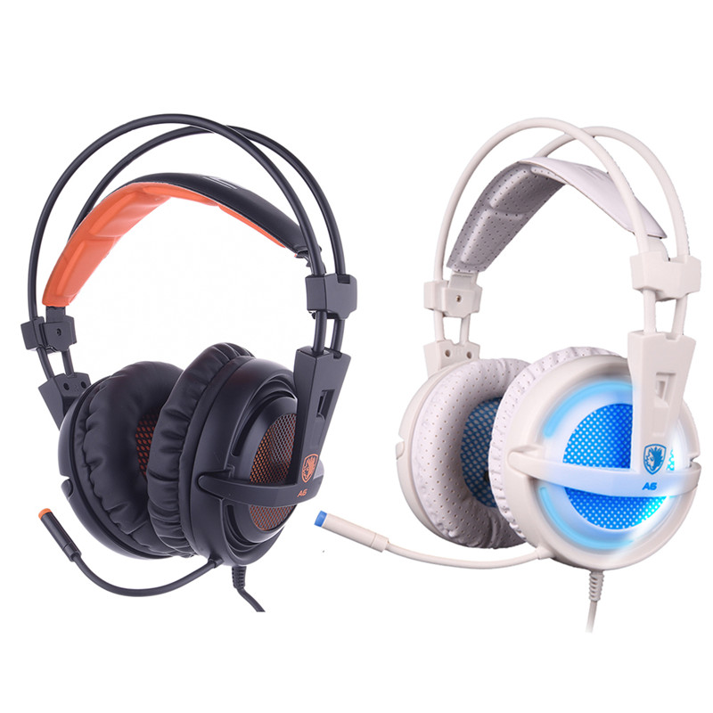 ФОТО SADES A6 USB LED Gaming Headphones Over-Ear Game Headset 7.1 Surround Sound Noise Isolating with Mic for Computer Gamer