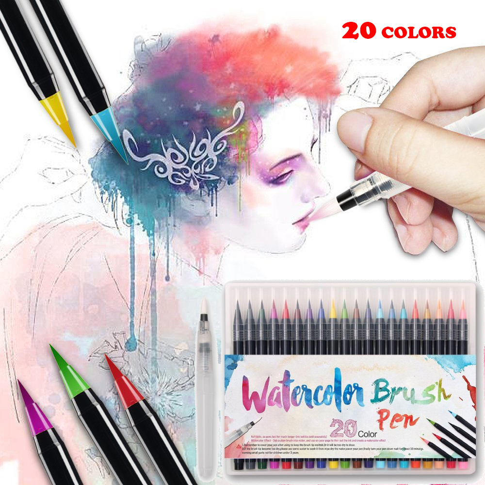 20 Color Painting Soft Brush Pen Set Watercolor Markers Pen Effect ...