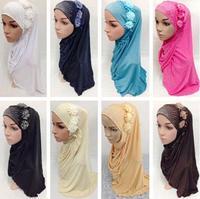 12 PCS Ramadan Muslim Amira Women Hijab Islamic Scarf 3D Flowers Rhinestone Headwear Turban Arab Headscarf Fashion Random Color