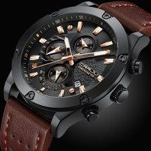 גדול חיוג שעון CRRJU Relogio Masculino אופנה ספורט קוורץ Mens שעונים למעלה מותג יוקרה צבאי עור עמיד למים שעון גברים