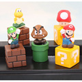 "Super Mario Bros 5.5cm 2"" Figures Toys Model Set Mario Goomba Luigi Koopa Troopa Mushroom Figure Model Gift"