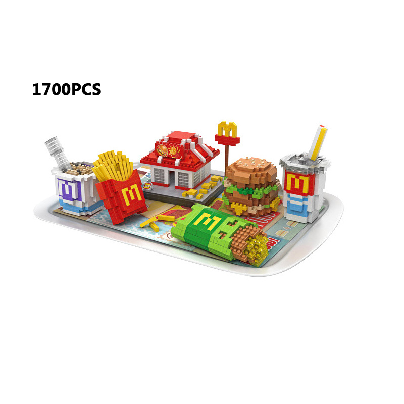 Hot Delicious food micro diamond building block mcdonalds store hamburger meal cola Fries nanoblock bricks toys collection creator hot world famous city funland micro diamond building block castle nanoblock assemble model bricks toys collection gifts