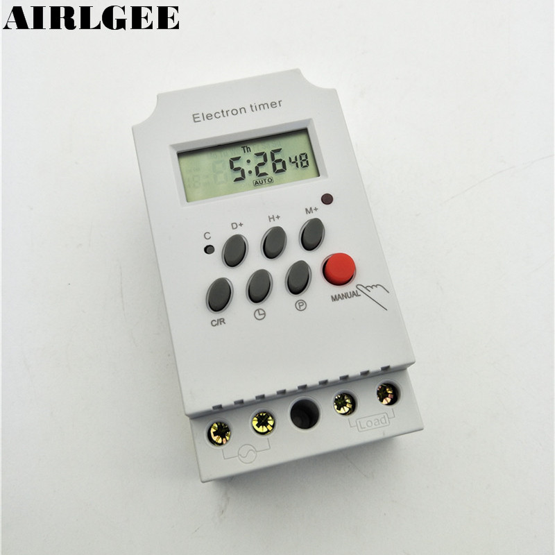 AC220V 25A Din Rail Digital Display Microcomputer Programmable Electronic Auto Timer Switch KG316T-II Outdoor Light Controller kg316t ii digital timer controller ac220v 25a din rail lcd digital programmable electronic timer switch