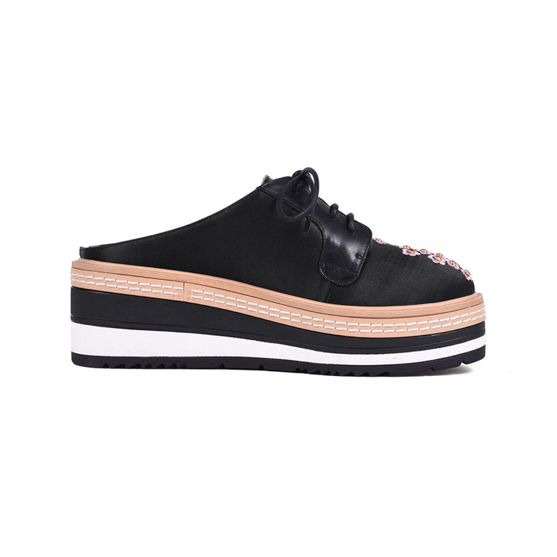 34 Auténtico Resbalón Nuevas La Plataforma en Plana Ribetrini apricot Cómodo Negro Zapatos 40 Grande Mujeres Casual Flor Mujer rosado Cuero Verano Tamaño CnTxBBqt