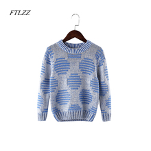 FTLZZ Autumn Winter Girls Boys Clothes Pullover Fashion Kids Dot Pattern Long Sleeve Casual Warm Shirt  Knitted Sweater Clothes