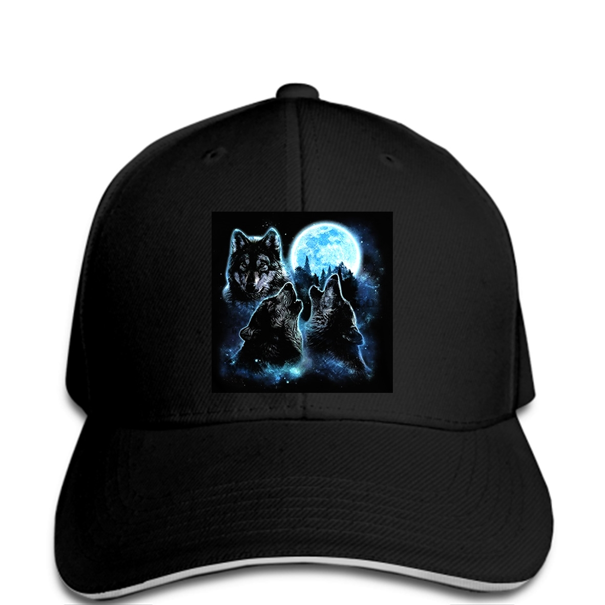 Howling Wolf Moon Adult Personalize Jeans Sun Hat Adjustable Baseball Cap