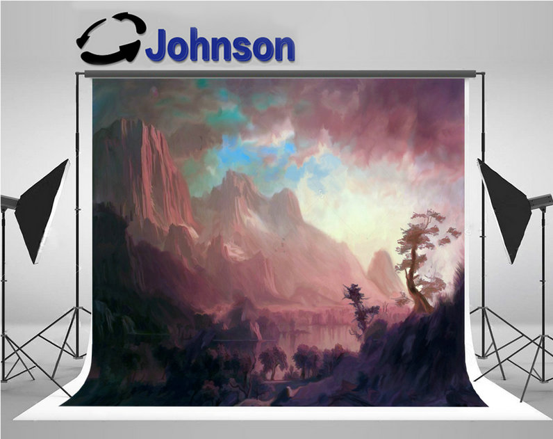 Big Mountains Rocks Trees Lake Center Sky Clouds Concept photo backdrop Vinyl cloth Computer print wall background