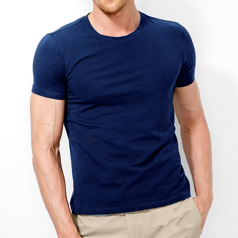 MRMT 2020 Brand New Men's T Shirt Pure Color Lycra Cotton Short Sleeved T-shirt Male Round Neck  Tops  Cotton Bottoming Shirt