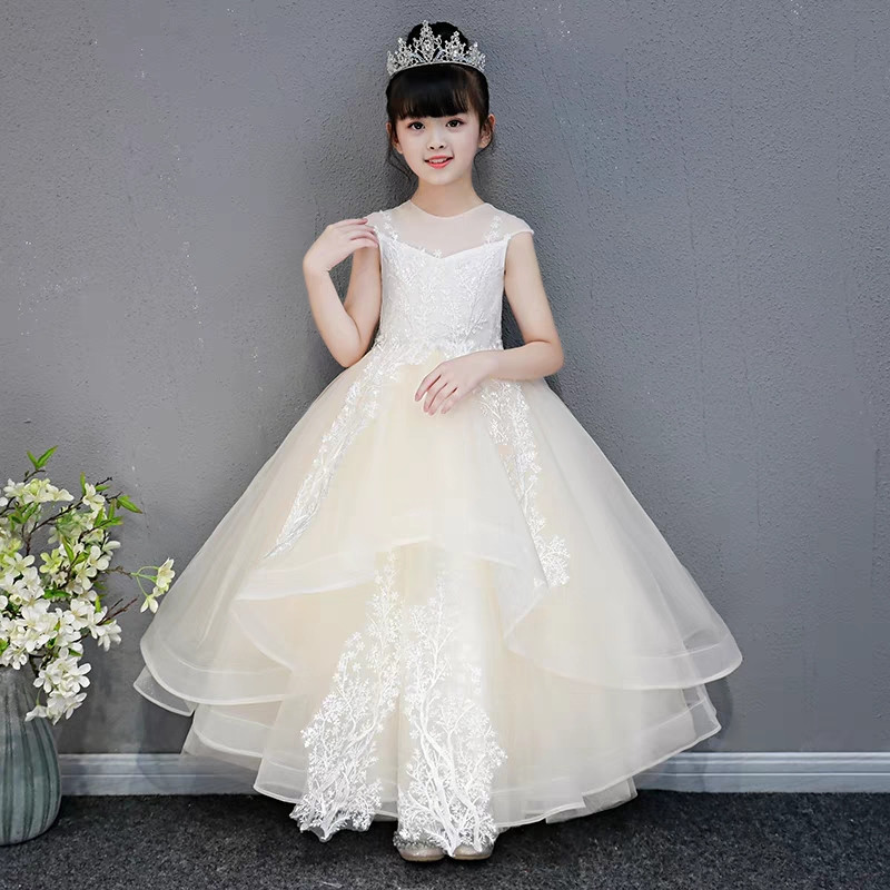 60769d30f Kids Girls Luxury Evening Party Model Performance Catwalk Flowers ...