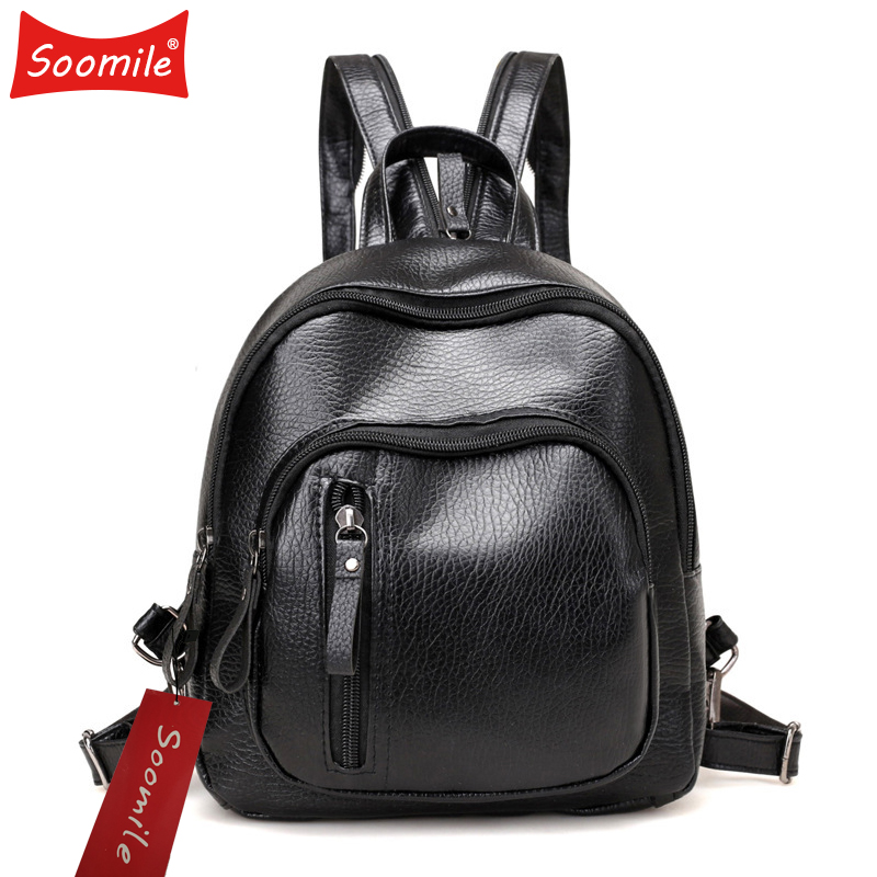 Soomile Mini Backpack Women PU Leather Anti Theft Mochila For Teenager Girls Back Pack Small Rucksack For Female Shoulder Bag
