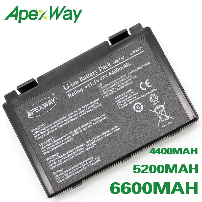 Bateria A32-F82 da pilha de apexway 6 para asus k40in k40ij k40ad k50ij k50in k50id k50af k51ac k51ae k60ij k61ic k70ab 90-nlf1b2000z