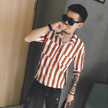 Japanese five-point sleeve striped shirt tide male Korean version of the loose social guy in sleeves trend