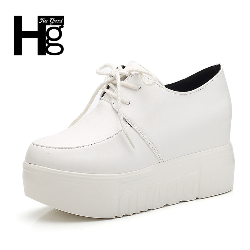 HEE GRAND High Platform Fashion Women Height Invisible Shoes Black Lady Shoes Lace up White Young Girl Creppers XWX6097 hee grand fashion height increasing women shoes zip white black women casual pumps wedges shoes drop shipping xwc471