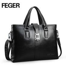 FEGER Genuine Leather Handbag Branded Men Business Shoulder Bag Classical Versatile Briefcase Free Shipping