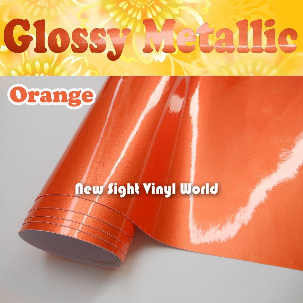High Quality Glossy Metallic Orange Vinyl Wrap Orange Gloss Metallic Car Film Air Free Car Wrap Size:1.52*20M(5ft*65ft)