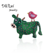 Cute Enamel Pin for Women Alloy Metal Animals Cow and Bird Brooches with Chain Hijab Pins Woman Girls Accessories Jewelry 2019 long chain with windmill shape brooches pin