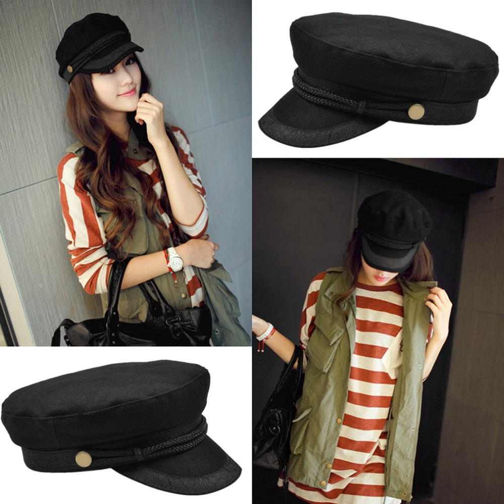 2019 Women Cool Military Beret Hats Sailor Caps Flat Bone Casquette Militaire Stylish Embroidery Lace Captain Cotton Naval Black