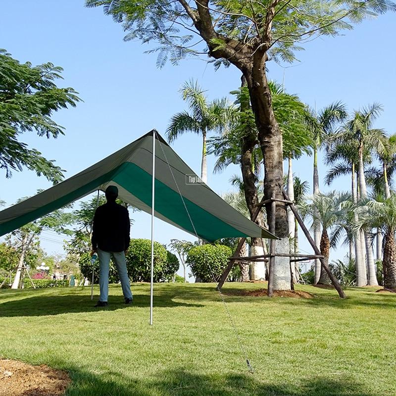 Tente de Camping ultralégère bâche imperméable Super grand hamac mouche de pluie Portable auvent tente auvent plage ombre avec chevilles cordes - 2