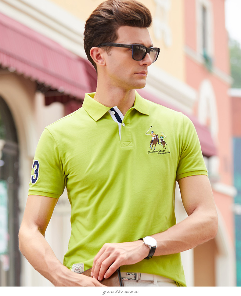 Fashion Summer Short Sleeve Solid Polo Shirt Men Cotton Print Slim Casual Polos Breathable Embroidery  Shirt Mens ClothingYP9099 23