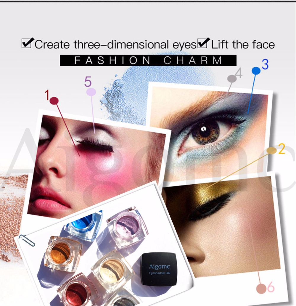Beauty Essentials Eye Shadow Aigomc Metallic Eyeshadow Cream Waterproof Long Lasting Gold Blue White Shimmer Eyeshadow Highlighter Smoky Eyeshadow Hf086