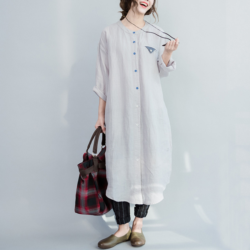 OLOEY 2018 Autumn Winter New Korea Linen Shirt Plus Size Dress Slim Loose  Casual Women s Vintage Dresses Vestidos A595-in Dresses from Women s  Clothing on ... 16d5ba0f054a