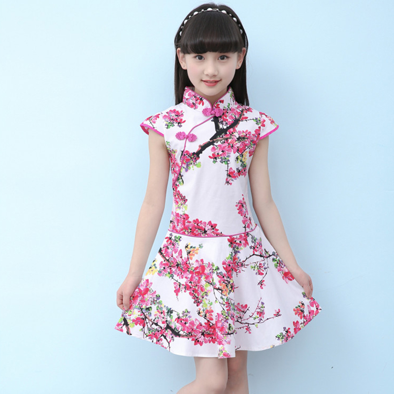 2018 Children Cheongsam Dress Oriental Traditional Clothes Competition Performance Clothing Cotton Cheongsam Girl Skirt Qipao