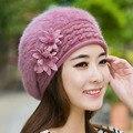 2016 nuevo invierno de la marca de Navidad sombreros calientes y gorras para las mujeres de pelo de conejo de la boina casquillos ocasionales de moda Del Todo-Fósforo sombreros Azafata