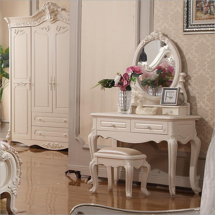 white European mirror table dresser French bedroom furniture 10323 wooden dressing table makeup desk with stool oval rotation mirror 5 drawers white bedroom furniture dropshipping