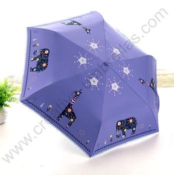 Buy 3 pcs get 1pc free,three fold  210T pongee 4 times black coating Anti-UV alloy super lightfiberglass  Elephant&deer  parasol