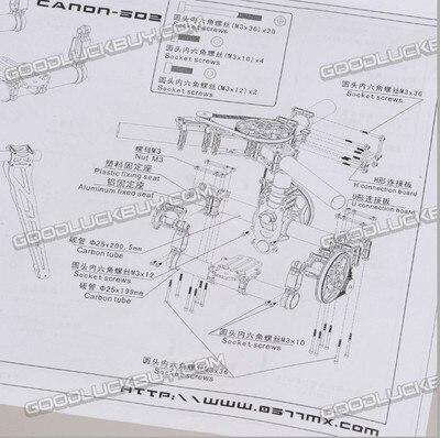 Tarot TL100AAA 3 axes support de caméra cardan avec servos, DSLR 5D 5D2 marque aérienne photo - 4